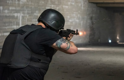Live firing in the 100m indoor range at The Tunnel