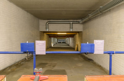 Firing positions in the 100m indoor range at The Tunnel